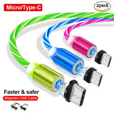 2Pack 360° Magnetic Led Flowing Light Charging Micro Usb Type-C Charger Cable Us
