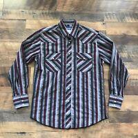 VTG Wrangler Cowboy Pearl Snap Men's Size Medium Long Sleeve Western Aztec Shirt