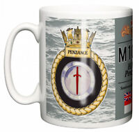 Royal Navy HMS Penzance Ceramic Mug, Sandown Class Minehunter Crest Pennant M106
