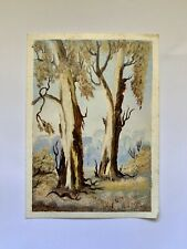 OIL ON CARD - ORIGINAL SIGNED LANDSCAPE Eucalyptus Trees PAINTING