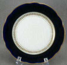 Set of 8 Kuznetsov Russian Cobalt & Gold Porcelain Dessert Plates C. 1891-1917