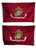 3x5 Embroidered Sewn Marine Corps Double Sided 2ply 300D Nylon Flag clips pin