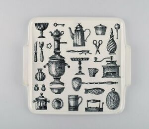 Arabia porcelain tray decorated with kitchen utensils. Finnish design, 1960/70s