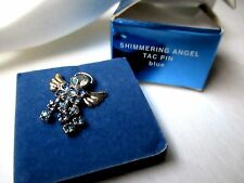 Avon Rhinestone Shimmering Angel FREE SHIP brooch tac pin box blue