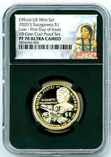 2020 S $1 SACAGAWEA PROOF NGC PF70 UCAM FIRST DAY OF ISSUE DOLLAR BLACK CORE