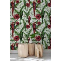 Exotic Parrots on tropical leaves Non-Woven wallpaper Traditional watercolor