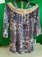 Blouse Cold Shoulder One World blue SZ 2X Orig $ 64.00 NEW NWT