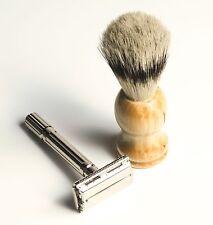 Double Edge Safety Razor w/ Boar Bristle Shave Brush & Travel Case