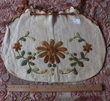 Arts & Crafts Hand Emb Linen Drawstring Purse~Vintage Womens Clothing c1918