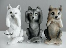 More details for 3 wise wolves see, hear, speak no evil wolf figurine ornament