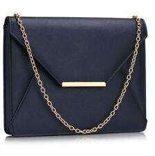 CLUTCH hand BAG purse navy flap with shoulder chain faux leather 0307