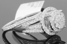 10K WHITE GOLD 1.21 CARAT WOMENS REAL DIAMOND ENGAGEMENT RING WEDDING BAND SET