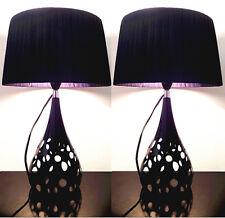 Pair of Deco Designer New Modern Table Bedside Desk Lamps Black Shade Metal Base