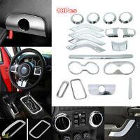 18x Silver Car Interior Accessories Decor Trim Cover For Jeep Wrangler JK 11-17