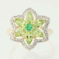 NEW Tsavorite Garnet, Peridot, & Diamond Ring -14k Gold Star Flower Halo 1.62ctw