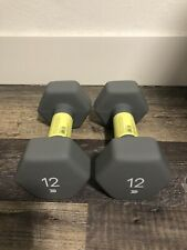 Pair of 12lb Dumbbells All in Motion Neoprene Hand Weight, Total 24 Pounds