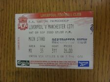 09/09/2000 Ticket: Liverpool v Manchester City (Folded). This item has been insp