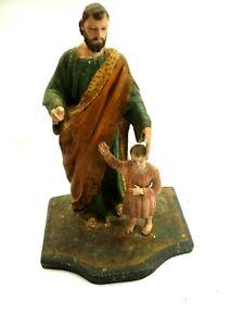 Scarce Spanish Colonial Hand Carved Polychrome Wood Santos of St.Joseph & Jesus