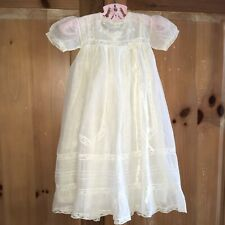 VINTAGE Ivory Christening Special Occasion Gown & Slip Baby Girls size 0-3 Mos