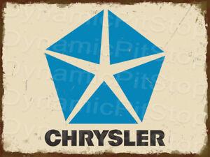 30x40cm Chrysler Logo Badge Rustic Tin Sign or Decal, Cave, Bar, Garage, Retro