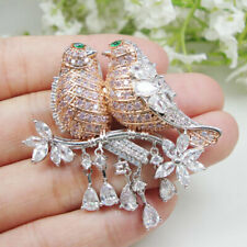 Magpie Bird Brooch Pin Parrot Gifts Noble Rose Gold Zircon Crystal Pendant Woman