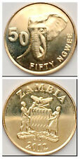 Zambia 50 Ngwee 2012-2013 Elephant 21mm Brass plated Steel Coin UNC