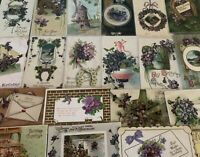 Lot of 25 Pretty *Purple~Violets Flowers~Vintage~Floral Greetings Postcards-b81
