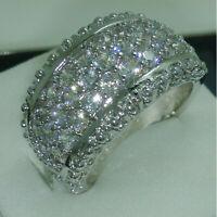 2.20 CT Round Diamond Anniversary Wedding Band Ring 14K White Gold GP For Womens