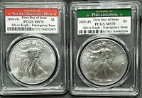 2020 (P) and 2020 (S) 2 Coin Silver Eagle Set, PCGS MS 70 FDOI EMERGENCY ISSUE