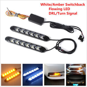 2x White/Amber Switchback Flowing 108 LED Strip Light Headlight DRL Turn Signals