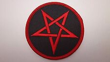 PENTAGRAM RED     EMBROIDERED  PATCH  IRON-OR SEW