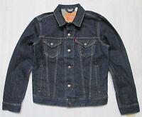 LEVI'S Mens TRUCKER Dark Blue Denim Regular-Fit Jean Jacket 72334-0002 Size S