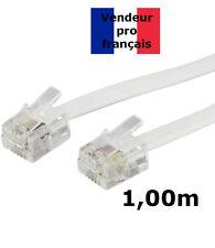DITM® Cordon Téléphone ou ADSL RJ11 mâle vers RJ 11 mâle - blanc - 1,00 m