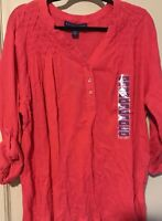 NEW Women XXL/1X Shirt Coral Pink Blouse Career Crinkle Roll Up Sleeves Tunic