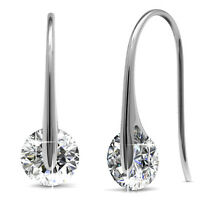 GENUINE CRYSTALS BY SWAROVSKI Hook Drop Earrings 18KWGP Krystal Couture KCE809WG