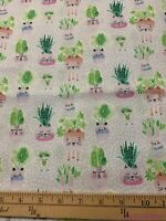 "FQ Dear Stella Cats Planter Pal Succulents Cotton Fabric 18""Lx21""W-BTFQ"