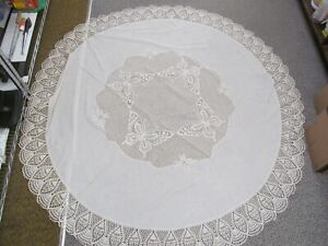 """Lace Look Plastic 69"""" Round Ivory Tablecloth Butterfly Design in Center; Damaged"""