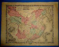 Vintage Circa 1862 CHINA MAP Old Antique Original Johnson Atlas Map Free S&H