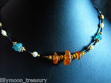 """UNIQUE Ethnic style NECKLACE AMBER APATITE PEARL glass beads OOAK 16-18"""""""