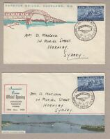New Zealand 2 x 1959 Auckland Bridge opening covers with special cancels
