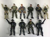 "Lot Of 10 Lanard Military Adventure Action Figures 2003- 2013 - 4"" Tall"