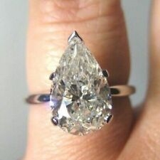 Engagement Ring in 14K White Gold 4.00 Ct Pear Cut Moissanite Diamond Solitaire