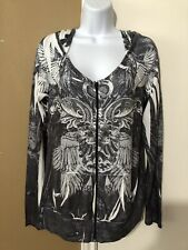 NWT DAYTRIP BUCKLE Sz L Black White Wings Crystal Sublimation Zip Up Sweater