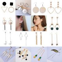 Fashion Women Rhinestone Pearl Geometric Ear Stud Tassel Drop Dangle Earring Hot