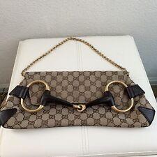GUCCI GG Gucci Horsebit XL Canvas Leather Gg Monogram Logo Large Purse Clutch