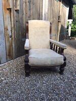 Victorian Mahogany Fireside Arm Chair, Cream Upholstery