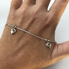 """Nearly New Solid 18k White Gold Dangle 3D Hearts Anklet 4.2g, 9.5"""""""