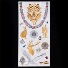 Gold Silver Wolf Hare Stag Cat Owl  Chain Temporary Tattoo