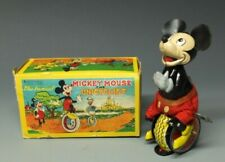 New listing Linemar Mickey Mouse Unicyclist Wind up Toy with Original Box