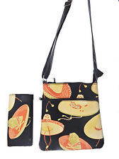 """CrossBody Bag and & A Matching Wallet """"SOMBRERO"""" Pattern, NEW, (only 2 items)"""
